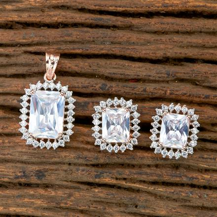 405247 Cz Classic Pendant Set With Rose Gold Plating