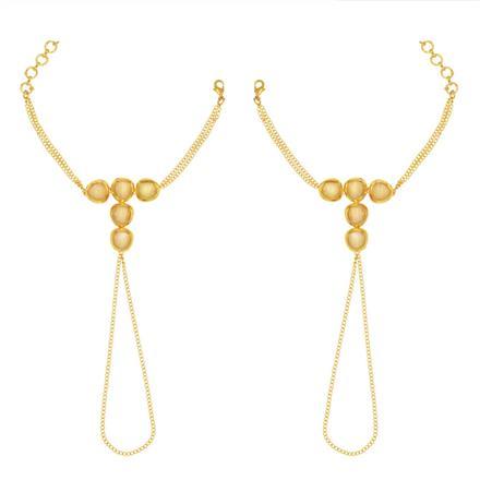 40527 Kundan Classic Hath Pan with gold plating