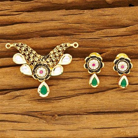 40534 Kundan Classic Mangalsutra with gold plating