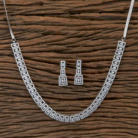 405394 Cz Classic Necklace With Rhodium Plating