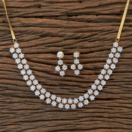 405399 Cz Classic Necklace With 2 Tone Plating