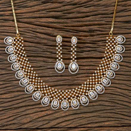 405411 Cz Classic Necklace With 2 Tone Plating