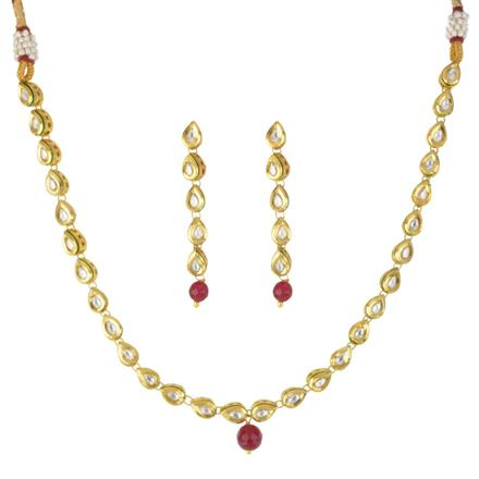 40567 Kundan Delicate Necklace with gold plating
