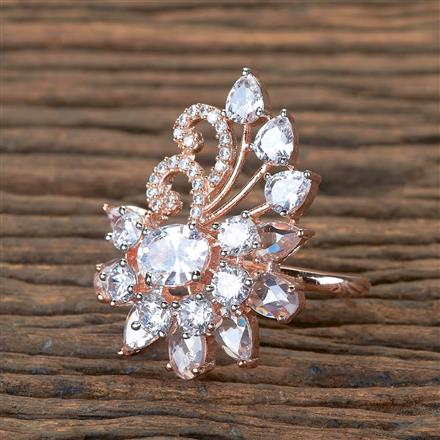 405749 Cz Classic Ring With Rose Gold Plating
