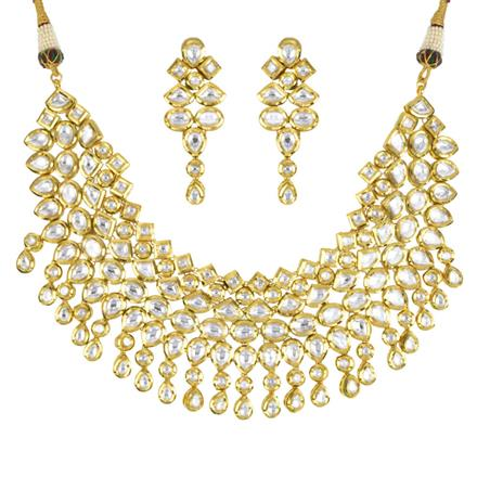 40580 Kundan Classic Necklace with gold plating
