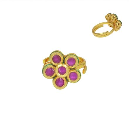 40591 Kundan Delicate Ring with gold plating
