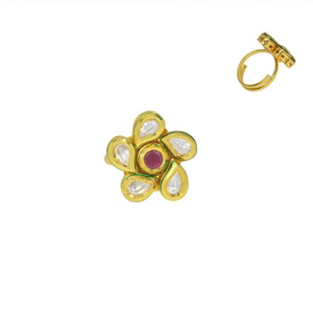 40593 Kundan Classic Ring with gold plating