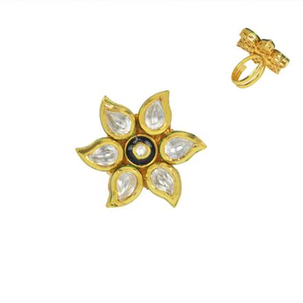 40594 Kundan Classic Ring with gold plating