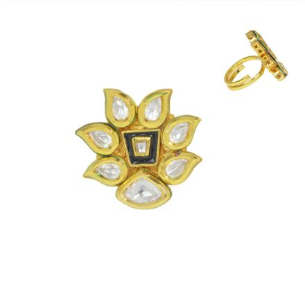 40595 Kundan Classic Ring with gold plating