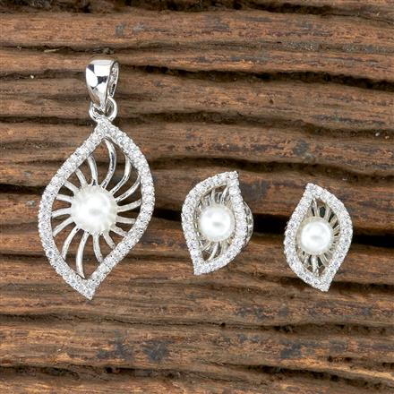 405961 Cz Delicate Pendant set With Rhodium Plating