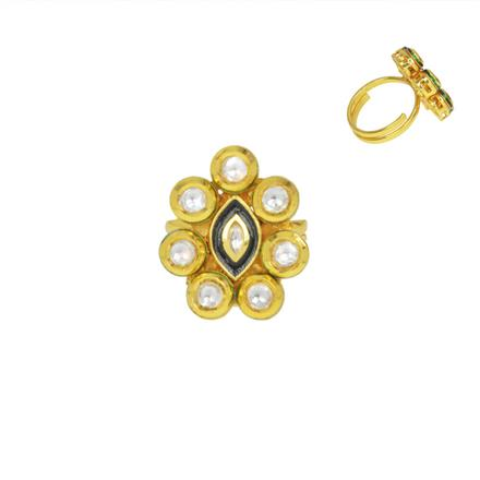 40596 Kundan Classic Ring with gold plating