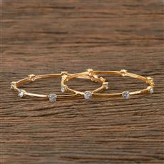 405986 Cz Classic Bangles With Gold Plating