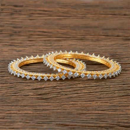 406008 Cz Classic Bangles With 2 Tone Plating