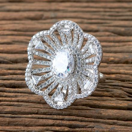 406147 Cz Classic Ring With Rhodium Plating