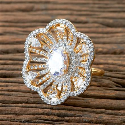 406148 Cz Classic Ring With 2 Tone Plating
