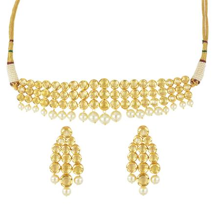 40617 Kundan Choker Necklace with gold plating