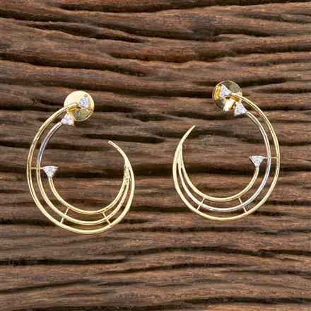 406237 Cz Chand Earring with 2 Tone Plating