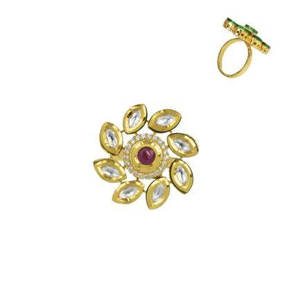 40625 Kundan Classic Ring with gold plating