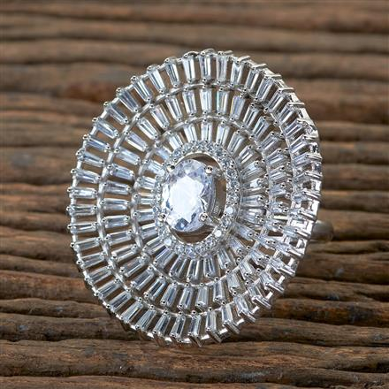 406291 Cz Classic Ring with Rhodium Plating