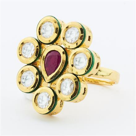 40632 Kundan Classic Ring with gold plating