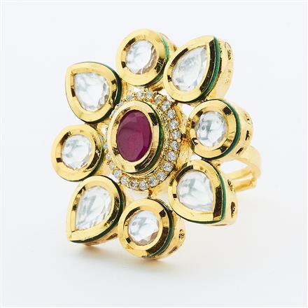 40633 Kundan Fusion Ring with gold plating