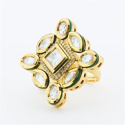 40634 Kundan Fusion Ring with gold plating