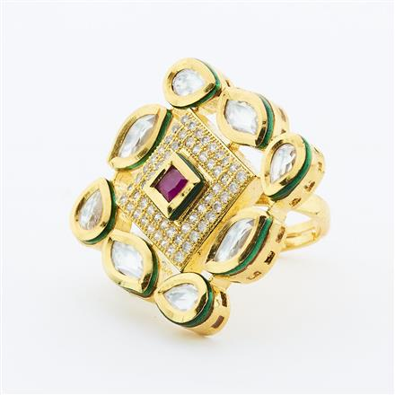 40635 Kundan Fusion Ring with gold plating