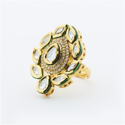 40636 Kundan Fusion Ring with gold plating