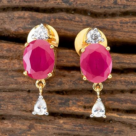 406376 Cz Short Earring with 2 Tone Plating