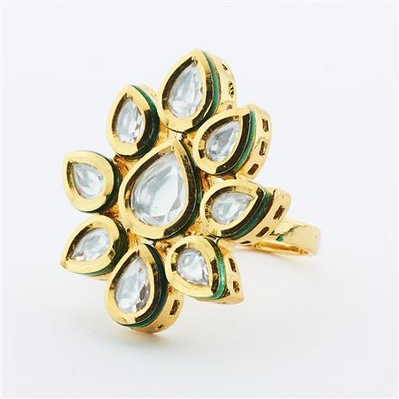 40637 Kundan Classic Ring with gold plating