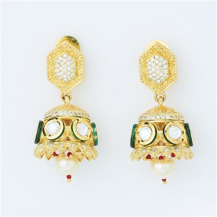 40638 Kundan Fusion Earring with gold plating