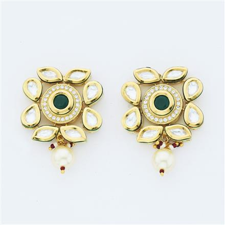 40639 Kundan Fusion Earring with gold plating