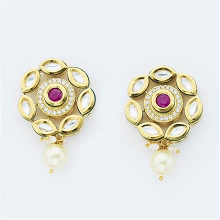 40640 Kundan Fusion Earring with gold plating