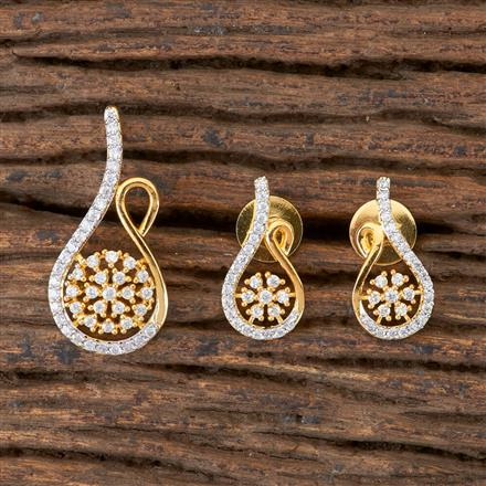 406412 Cz Delicate Pendant set with 2 Tone Plating