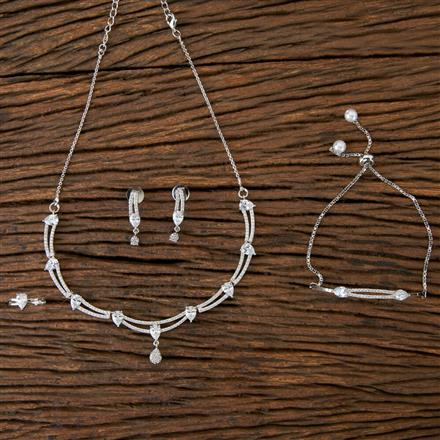 406417 Cz Combo Necklace sets with Rhodium Plating