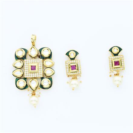 40642 Kundan Fusion Pendant Set with gold plating