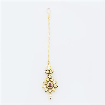 40645 Kundan Classic Tikka with gold plating