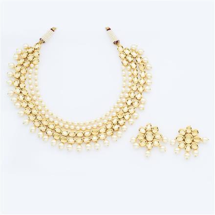 40646 Kundan Mala Necklace with gold plating