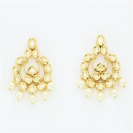 40647 Kundan Chand Earring with gold plating