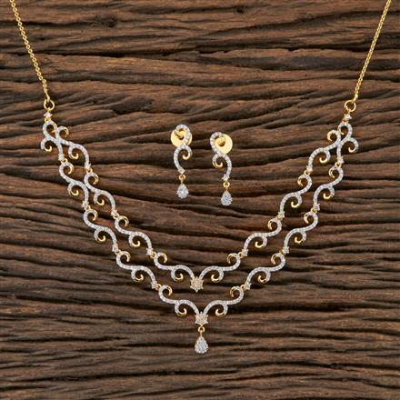 406489 Cz Classic Necklace with 2 Tone Plating