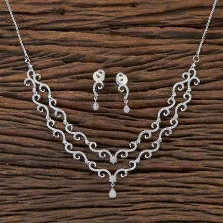 406490 Cz Classic Necklace with Rhodium Plating