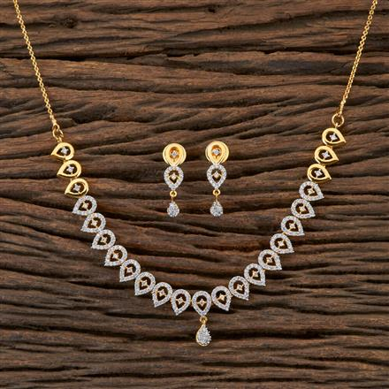 406491 Cz Classic Necklace with 2 Tone Plating