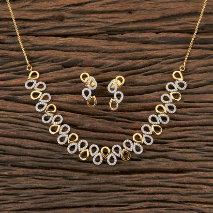 406506 Cz Classic Necklace with 2 Tone Plating