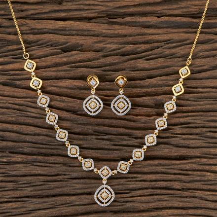 406508 Cz Classic Necklace with 2 Tone Plating