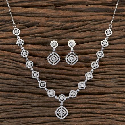406509 Cz Classic Necklace with Rhodium Plating
