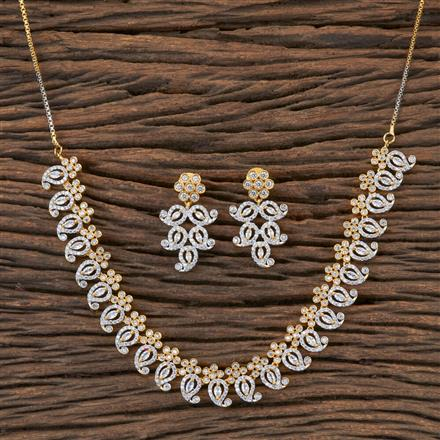 406519 Cz Classic Necklace with 2 Tone Plating