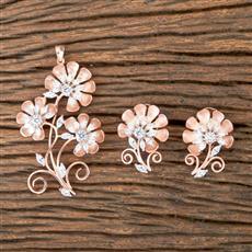 407001 Designer Classic Pendant set with Rose Gold Plating
