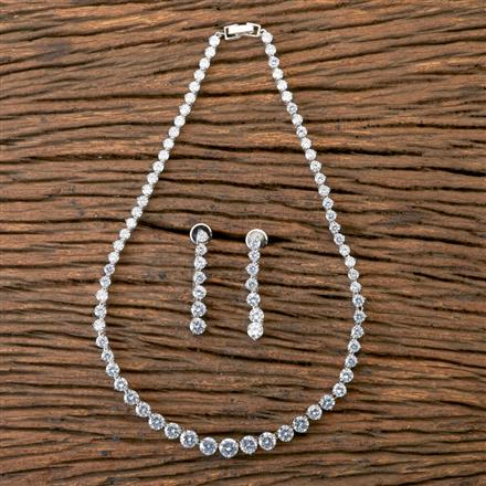 407062 Cz Classic Necklace With Rhodium Plating