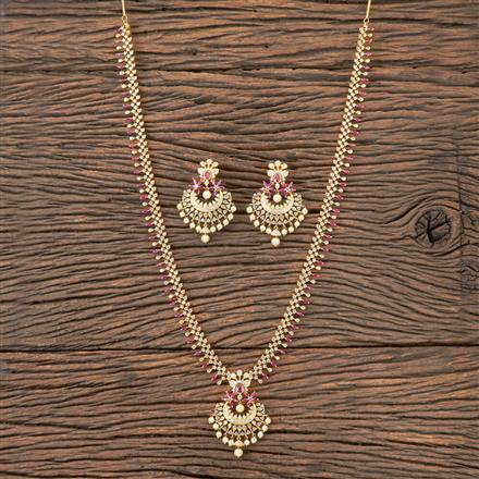 407119 Cz Long Necklace With Gold Plating