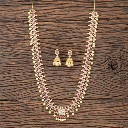 407128 Cz Long Necklace With Gold Plating